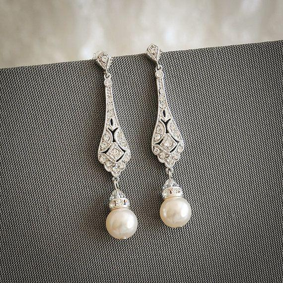 Mariage - Bridal Earrings, Wedding Earrings, Swarovski Pearl Drop Dangle Earrings, Vintage Style Earrings, Old Hollywood Wedding Jewelry, TRISSIE