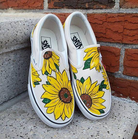 Wedding - Custom Sunflower Vans Shoes
