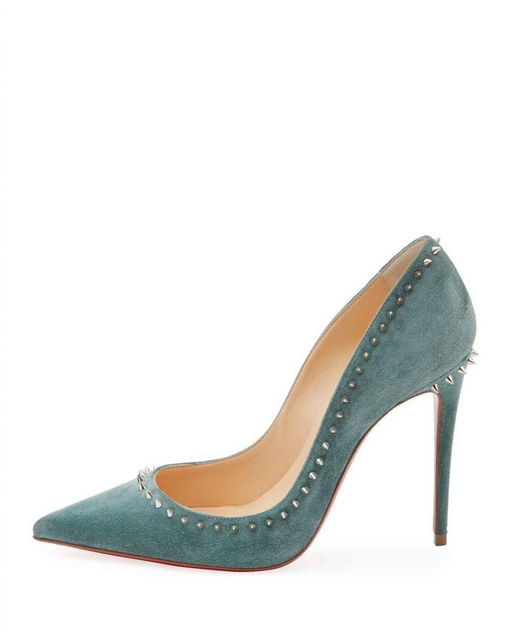 "Wedding - Amazing ""Anjalina"" Spiked Suede Red Sole Pumps By Christian Louboutin"