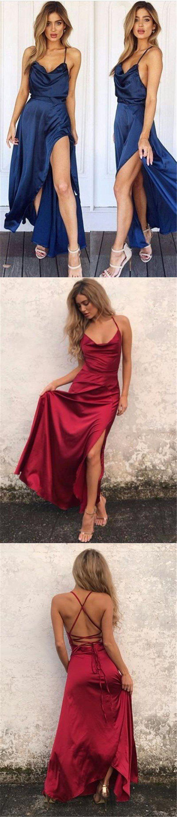 Mariage - Charming Long Red Sexy Prom Dress, Fashion Slit Spaghetti Straps Evening Dresses, Party Dress, PD0318