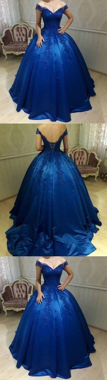 Mariage - New Fashions Ball Gown Lace Prom Dresses Formal Dress Satin Prom Dresses Sexy Royal Blue Evening Gowns G383 From MeetBeauty