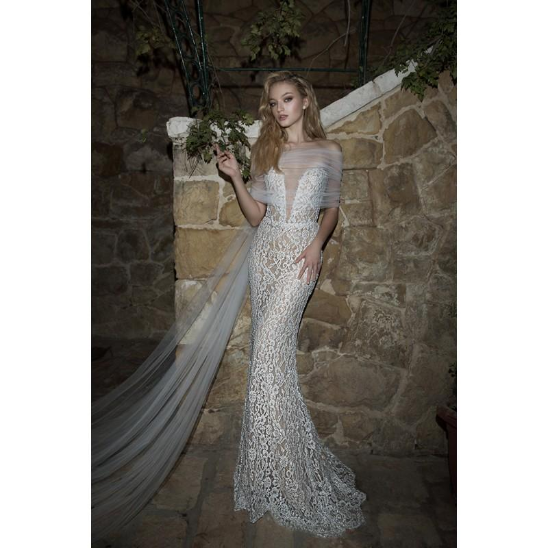 Wedding - Dany Mizrachi Spring/Summer 2018 DM07/18 S/S Sweep Train Ivory Sexy Strapless Sleeveless Sheath Beading Lace Wedding Gown - Formal Day Dresses