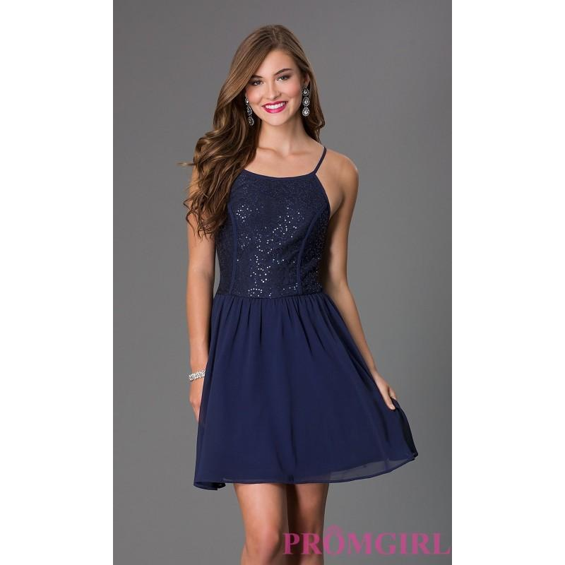 Short Sleeveless Dress With Lace And Sequin Bodice By As U Wish ...