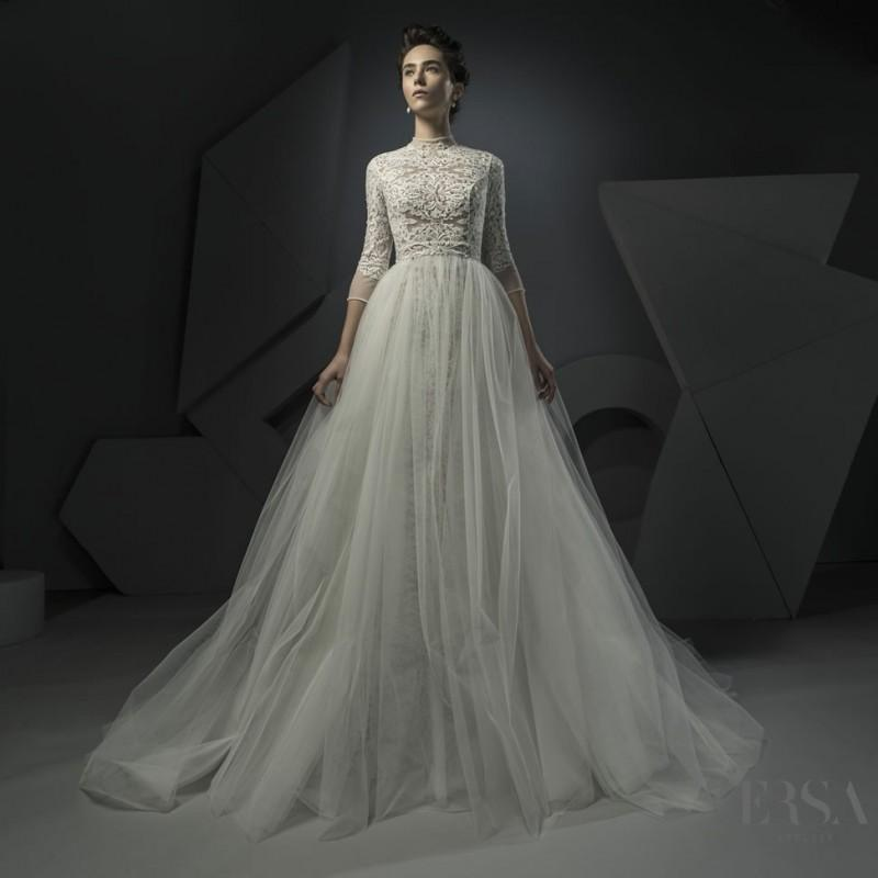 Свадьба - Ersa Atelier Spring/Summer 2018 Faith Detachable Elegant Champagne High Neck Ball Gown 3/4 Sleeves Beading Lace Dress For Bride - 2018 Unique Wedding Shop