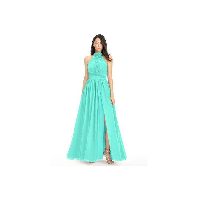 زفاف - Spa Azazie Iman - Chiffon Halter Illusion Floor Length Dress - Charming Bridesmaids Store