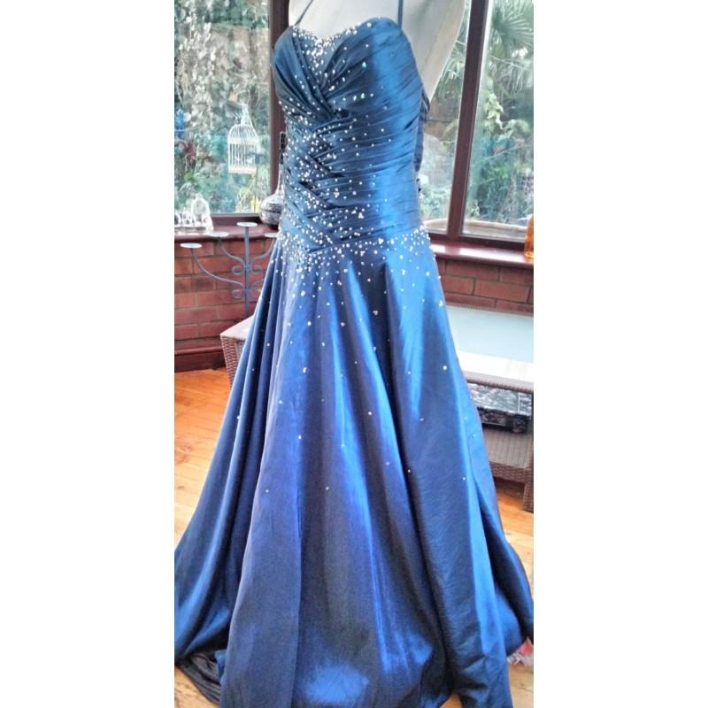 Boda - blue taffeta sequined beaded ballgown bridesmaid prom special occasion dress grecian style boned corset top pleated bodice - Hand-made Beautiful Dresses