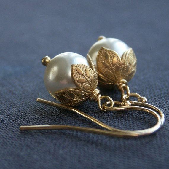 Wedding - Flower Bud Pearl Earrings, Swarovski Crystal Pearl Earrings, Leaf Bead Caps, Gold Filled Ear Wires, Gold Earrings