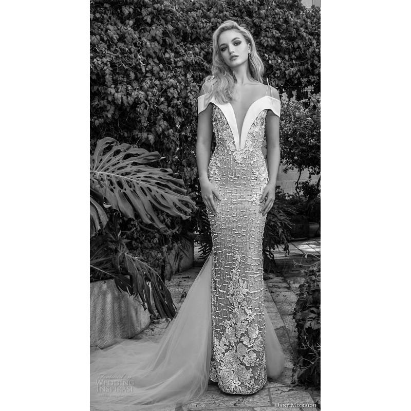 Mariage - Dany Mizrachi Spring/Summer 2018 DM10/18 S/S Champagne Spaghetti Straps Sheath Chapel Train Elegant Beading Lace Wedding Gown - 2018 Unique Wedding Shop