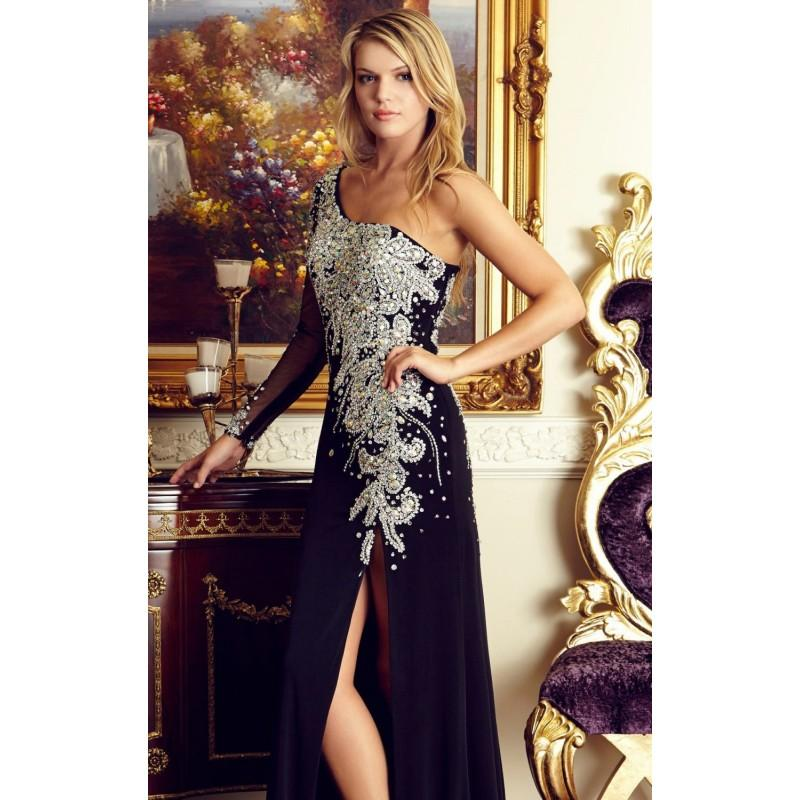 Mariage - Black Asymmetrical Beaded Jersey Gown by Elizabeth K - Color Your Classy Wardrobe