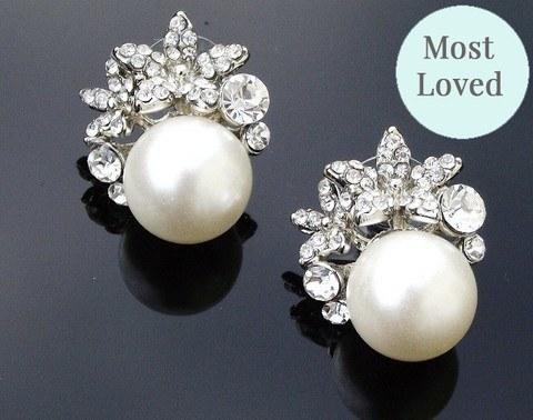 Wedding - Vintage Style Pearl & Crystal Stud Earrings, Carrie