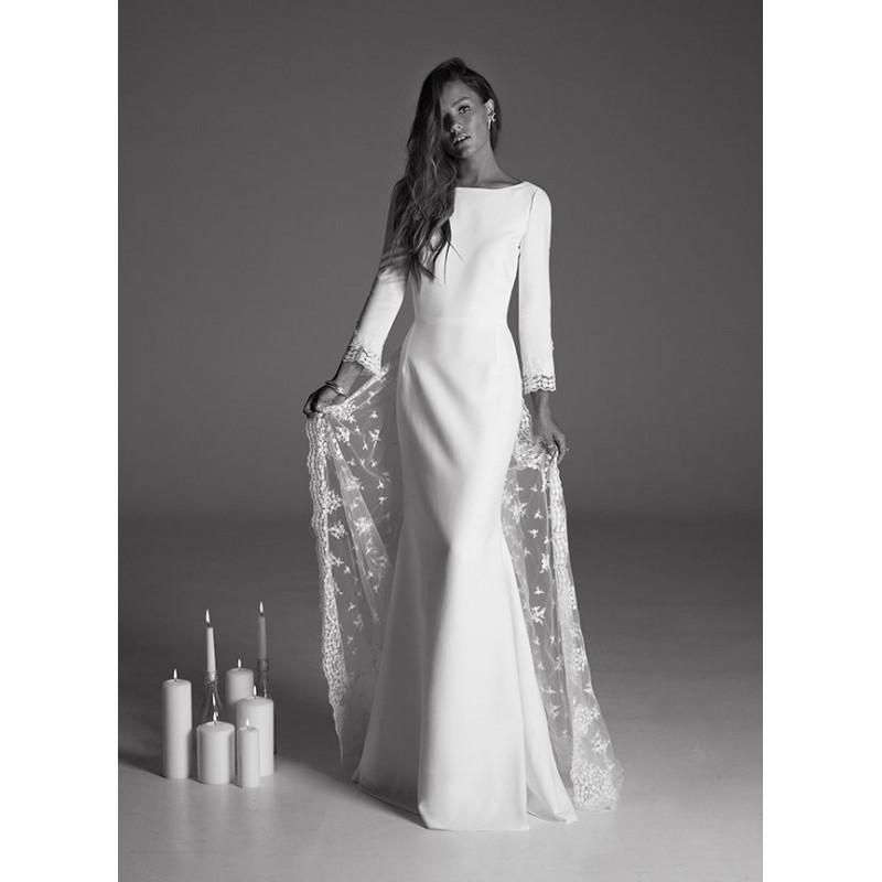 Wedding - Rime Arodaky Fall/Winter 2017 Suki Detachable Sweet Ivory Bateau Fit & Flare Long Sleeves Appliques Crepe Open Back Bridal Dress - Elegant Wedding Dresses
