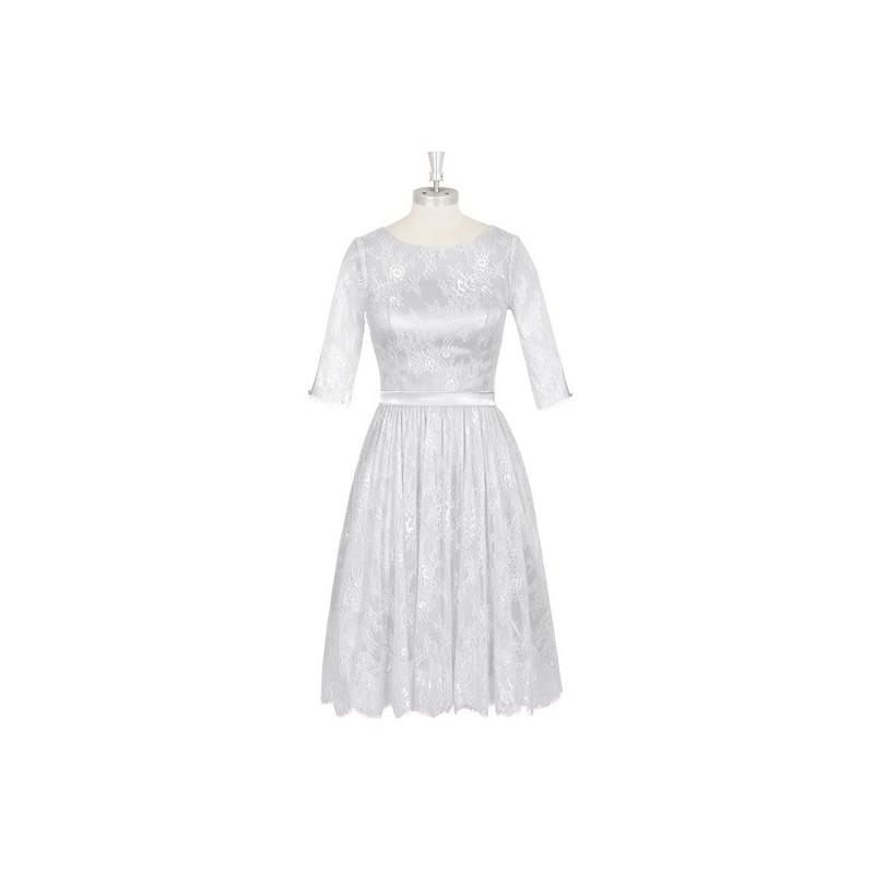 Hochzeit - Silver Azazie Antonia - Illusion Scoop Knee Length Charmeuse And Lace Dress - Charming Bridesmaids Store