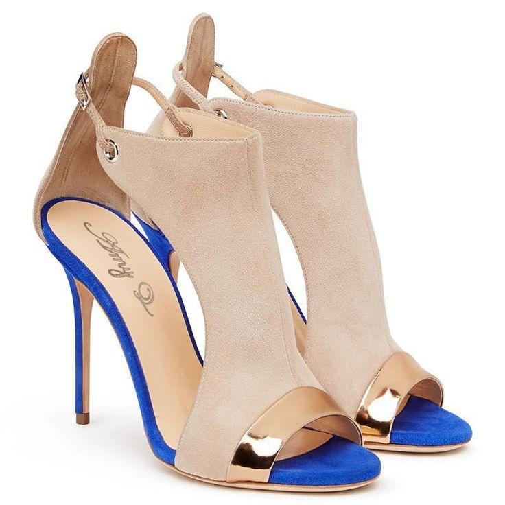Wedding - Buy Women Suede Shoes, Peep Toe High Heels Sandals, Nude, Brown At LeStyleParfait.Com For Only $87.00 USD