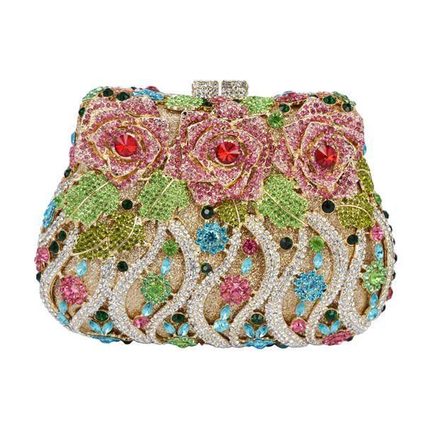 Hochzeit - Satin Luxury Floral Sparkly Clutch Evening Bags