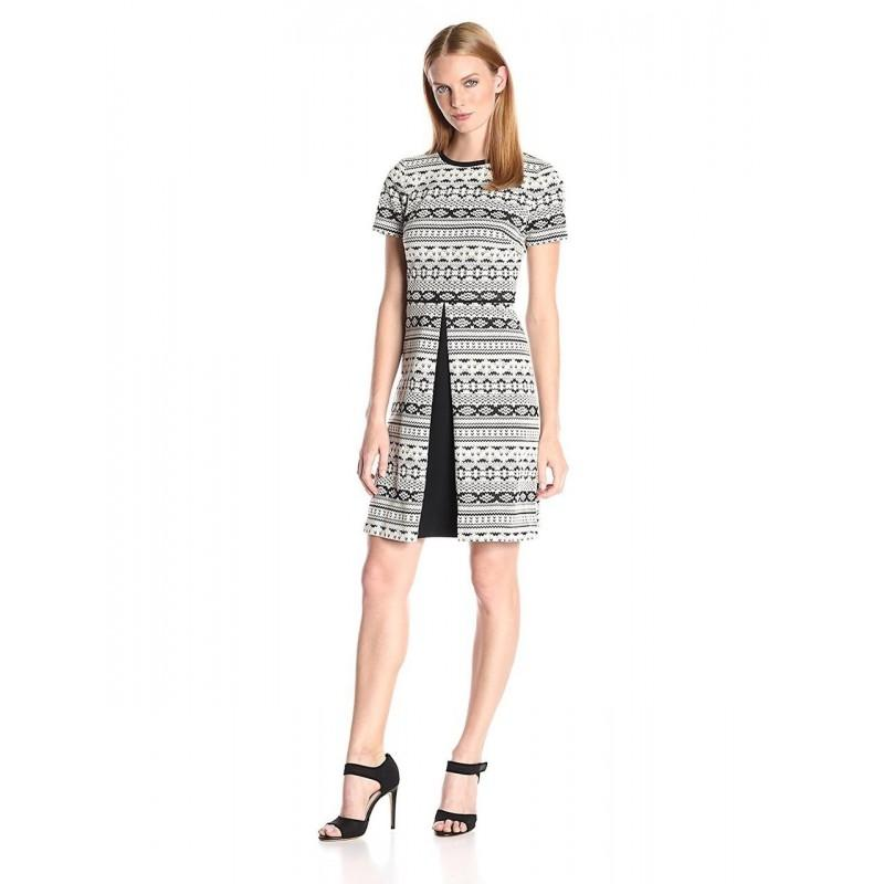 Wedding - Maggy London - G2627M Aztec Stripe Short Sleeve A-Line Dress - Designer Party Dress & Formal Gown