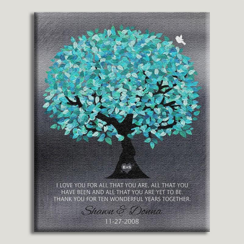 16x20 Canvas Aqua Turquoise Watercolor Tree On Faux Tin Personalized