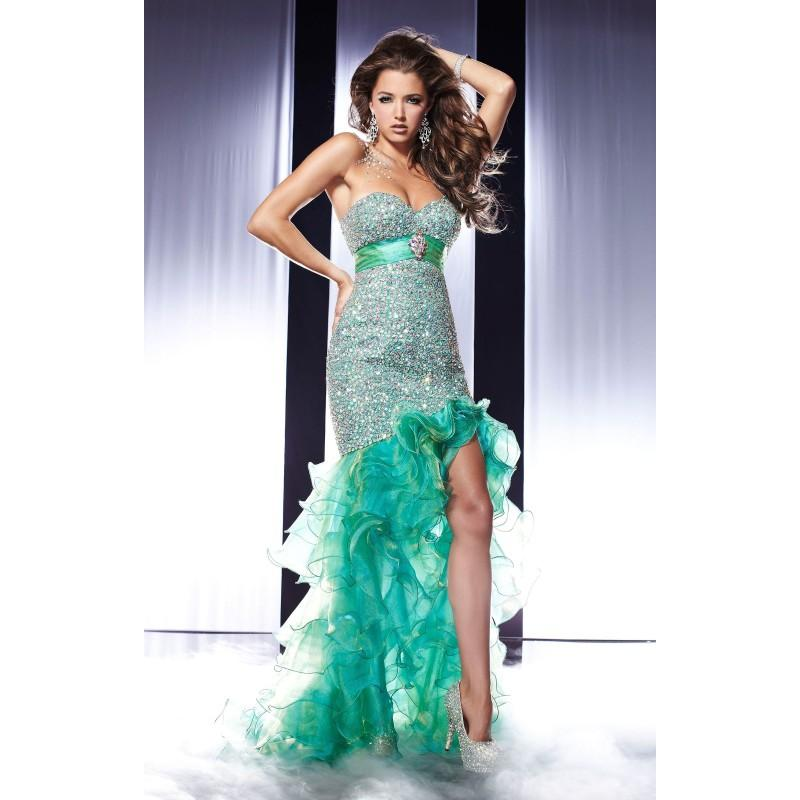 Mariage - Emerald Swirl Panoply 14561 - Crystals High Slit Sequin Dress - Customize Your Prom Dress
