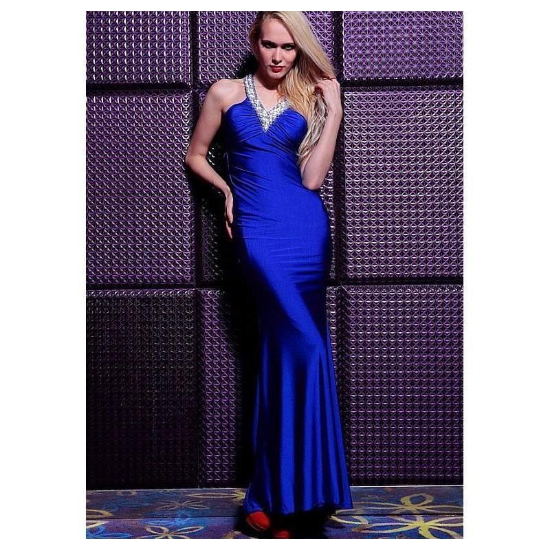 Mariage - In Stock Elegant Sheath Knitting V-neck Neckline Floor Length Formal Dress With Beadings - overpinks.com