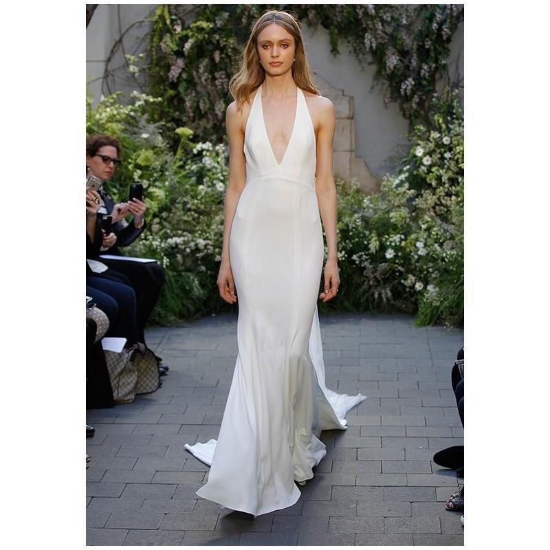 Monique Lhuillier Marlowe Sheath V Neck Natural Floor Chapel Tulle Formal Bridesmaid Dresses 2018