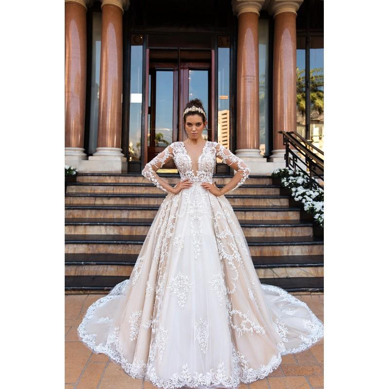 Свадьба - Crystal Design 2017 Chantale Cathedral Train Sweet Appliques Champagne Lace Winter Ball Gown Long Sleeves Illusion Bridal Gown - Formal Bridesmaid Dresses 2018
