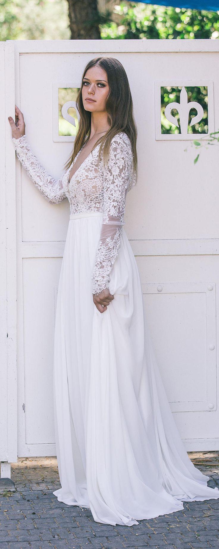 Mariage - Bohemian Wedding Dress, Boho Wedding Dress, Backless Wedding Dress, Long Sleeve Wedding Dress, Boho Long Sleeve Wedding Dress