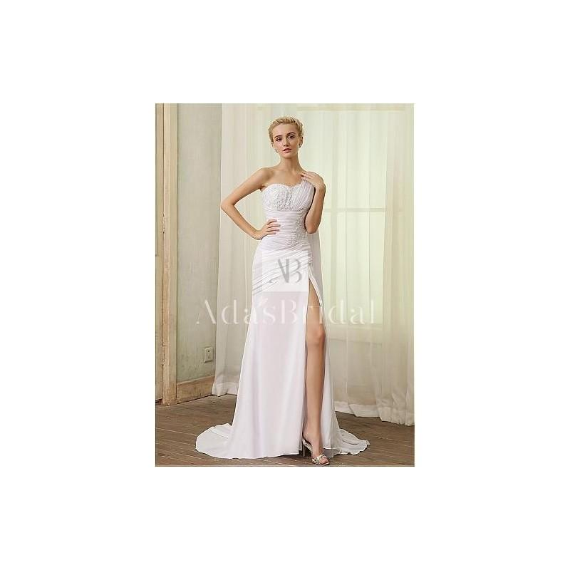 Wedding - Elegant Chiffon One Shoulder Neckline Slit Sheath Wedding Dresses - overpinks.com