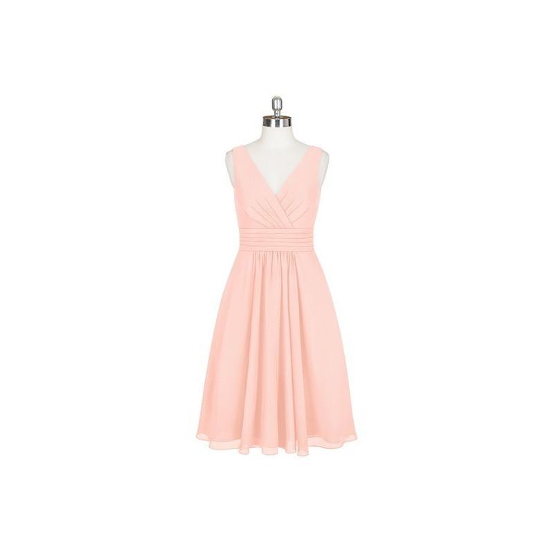 Wedding - Coral Azazie Kyla - Chiffon Back Zip V Neck Knee Length - Charming Bridesmaids Store