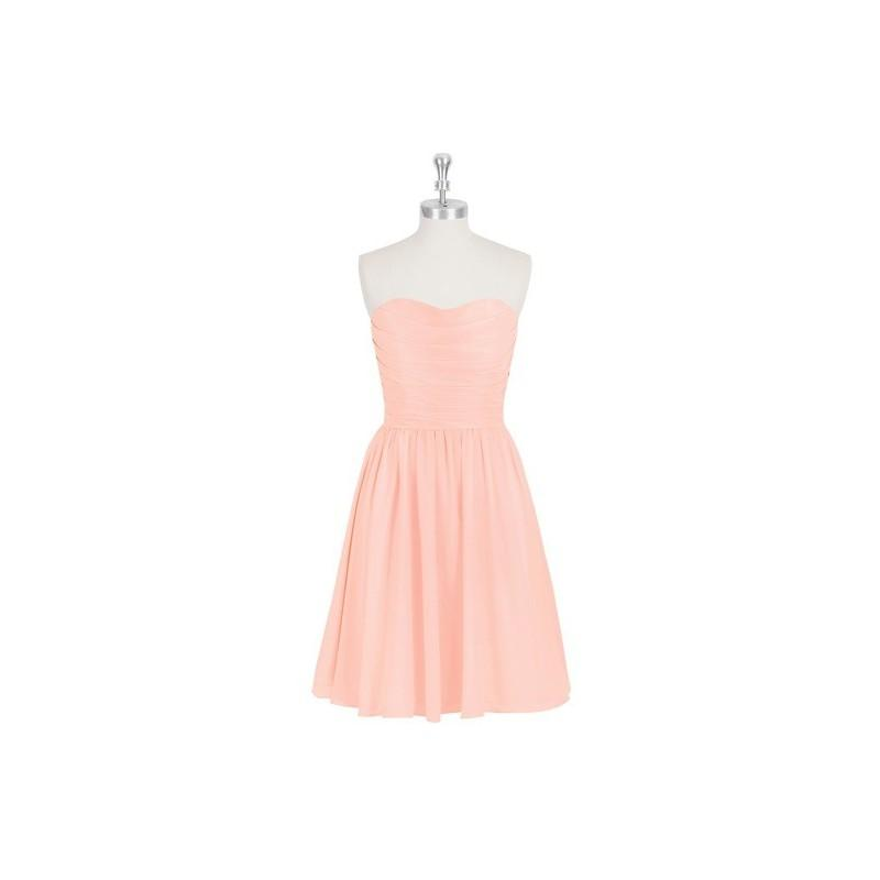 Wedding - Coral Azazie Kaiya - Back Zip Knee Length Sweetheart Chiffon Dress - Simple Bridesmaid Dresses & Easy Wedding Dresses