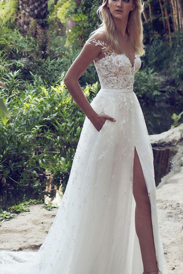 59e039616405 Lace Boho Off The Shoulder Cap Sleeves Long Country Slit Wedding Gown,  Beach Wedding Dress WF01-203