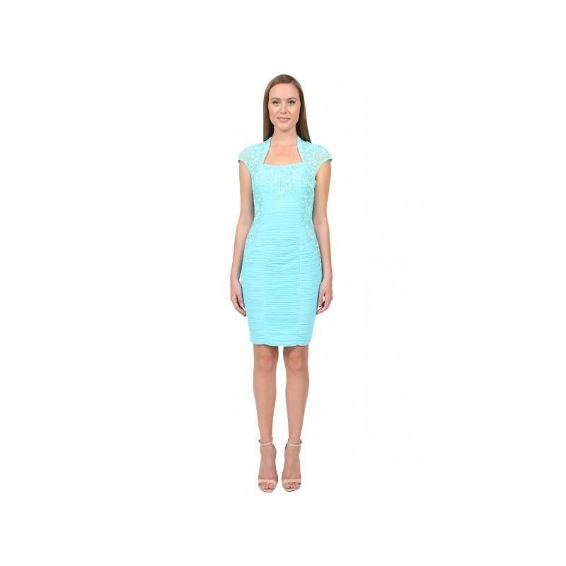 Sue Wong Bolero Sheath Dress In Turquoise Cocktail Dress