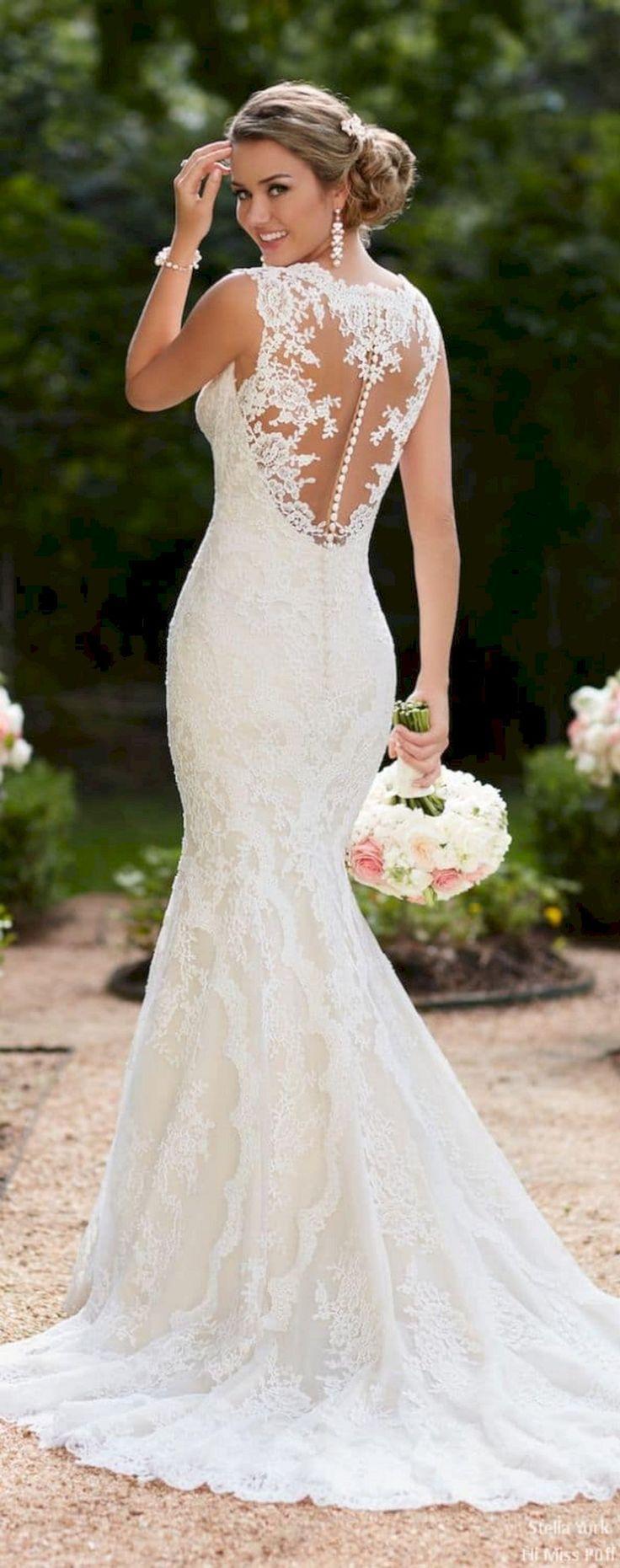 Mariage - 45  Beautiful White Lace Wedding Dress Open Back Ideas