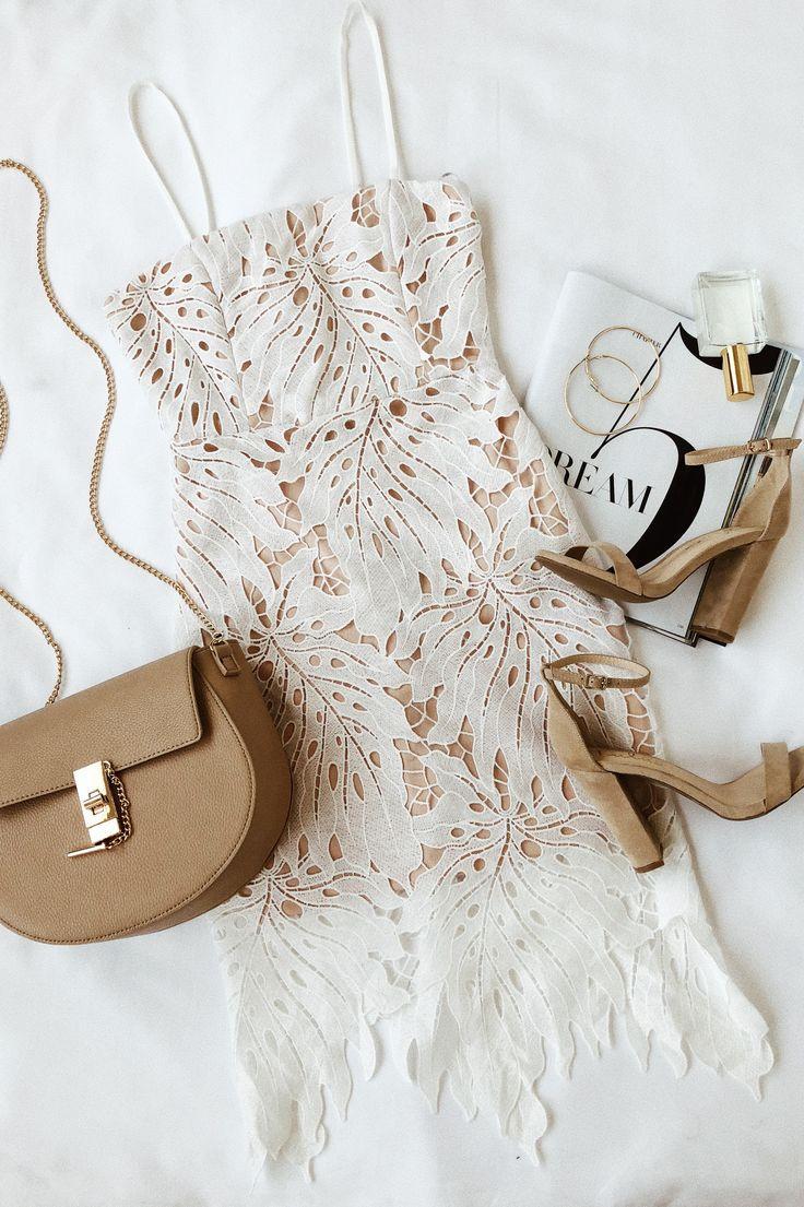 Свадьба - Resplendence White Lace Bodycon Midi Dress