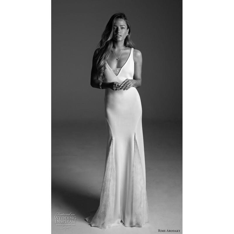 Wedding - Rime Arodaky Fall/Winter 2017 Sweep Train Ivory Simple Fit & Flare V-Neck Sleeveless Open Back Satin Split Front Dress For Bride - Brand Wedding Dresses