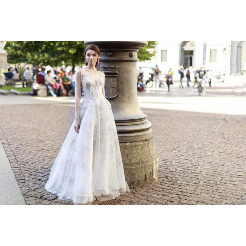 Свадьба - Gemy Maalouf 2017 W17 4799 Aline Illusion Lace Ivory Sweep Train Sleeveless Sweet Appliques Bridal Gown - Elegant Wedding Dresses