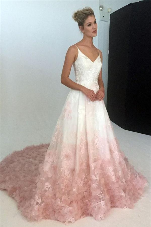 Свадьба - Pink Applique Modest Long Lace A-line Spaghetti Straps Princess Prom Dresses Z0372