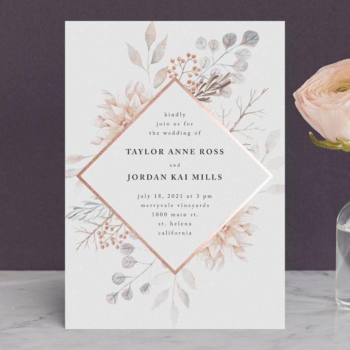 ascent customizable foil pressed wedding invitations in pink or