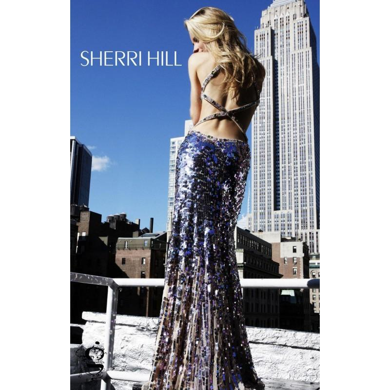 Wedding - Green Multi Sherri Hill 8435 - Open Back Sequin Dress - Customize Your Prom Dress