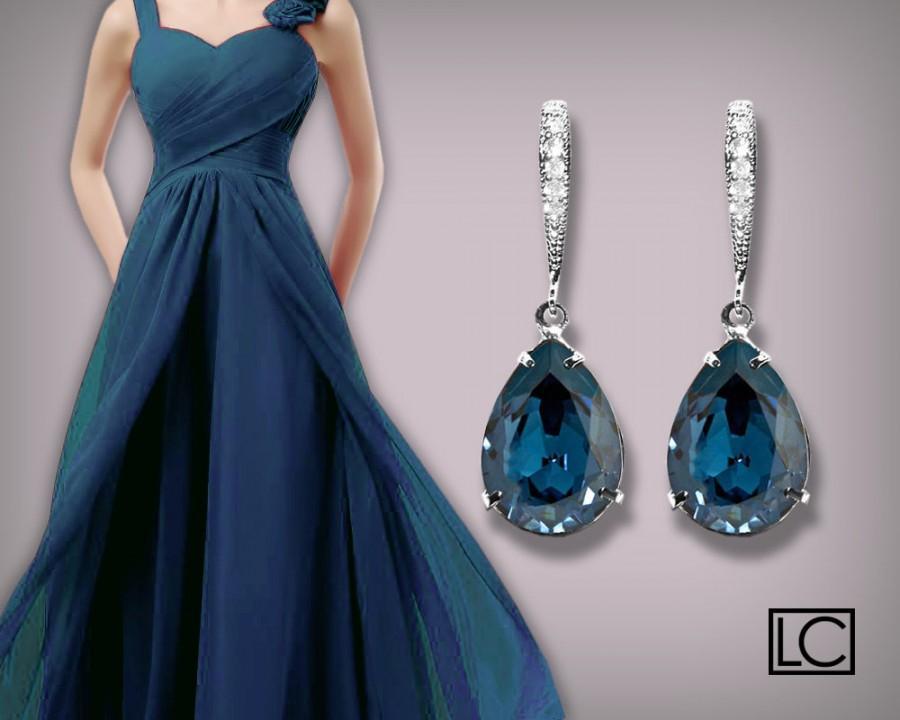 Navy Blue Crystal Earrings Montana Blue Rhinestone Teardrop Earrings