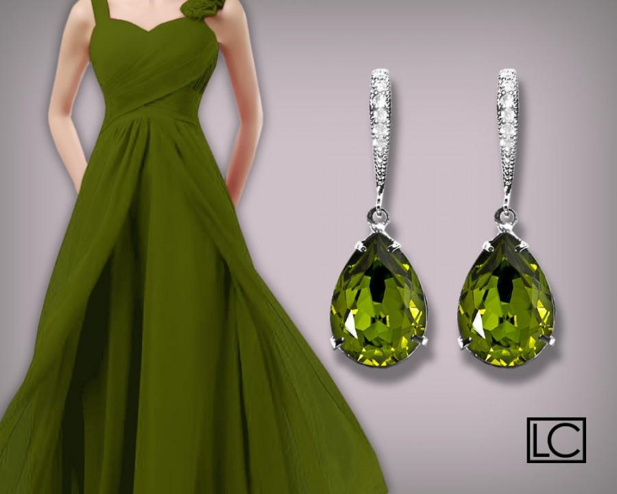 زفاف - Olivine Green Earrings Olivine Crystal Earrings Swarovski Rhinestone Silver CZ Olivine Green Wedding Earrings Green Bridesmaid' Gift Earring - $25.00 USD