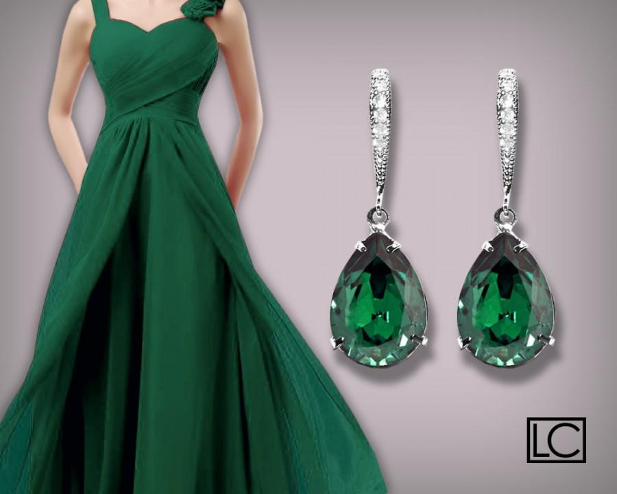 Emerald Crystal Earrings Swarovski Emerald Teardrop Silver