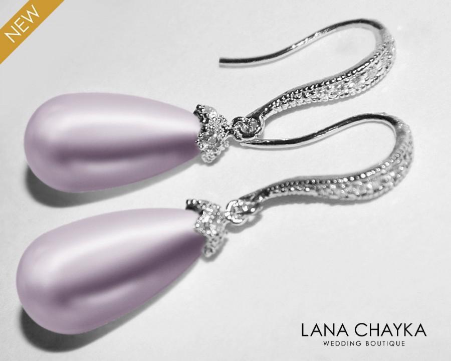 Wedding - Lavender Pearl Earrings, Swarovski Lavender Pearl Silver Earrings, Teardrop Pearl Earrings, Wedding Bridal Lavender Jewelry, Prom Earrings - $27.00 USD