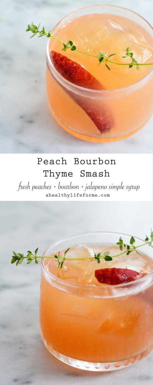 Hochzeit - Peach Bourbon Thyme Smash