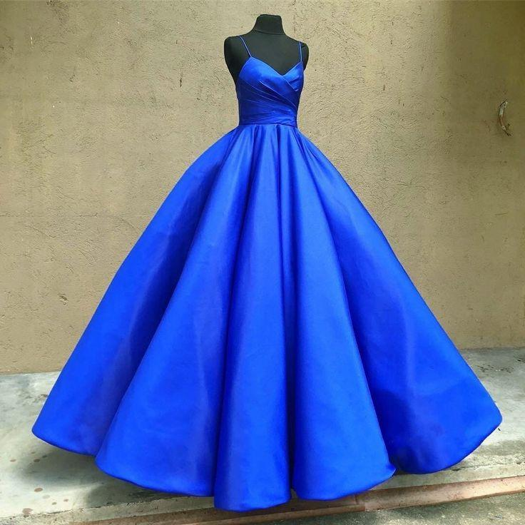 زفاف - Royal Blue Satin Ball Gown Prom Dresses Spaghetti Straps 2018