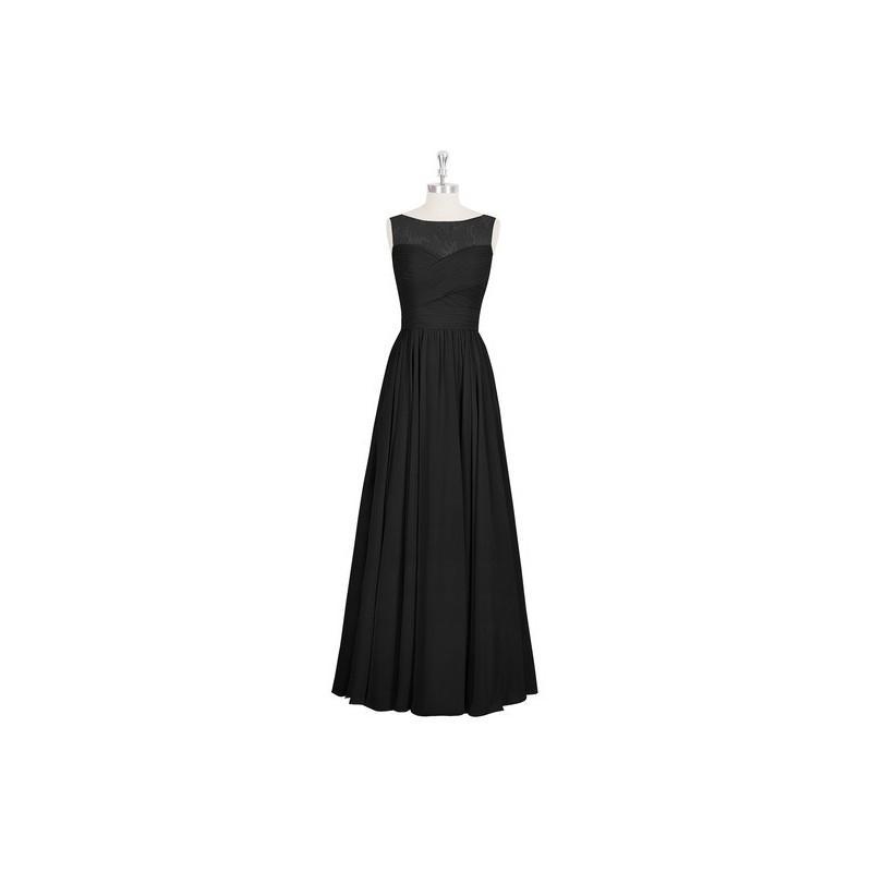 زفاف - Black Azazie Aliya - Boatneck Back Zip Floor Length Chiffon And Lace Dress - Charming Bridesmaids Store