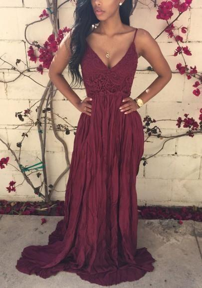 Wedding - Burgundy Crochet Lace Condole Belt Backless Splicing Draped V-neck Maxi Dress