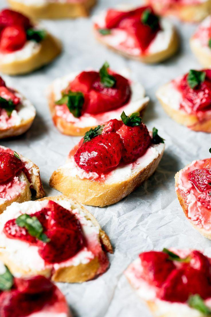 Wedding - Roasted Strawberry, Basil, And Goat Cheese Crostini