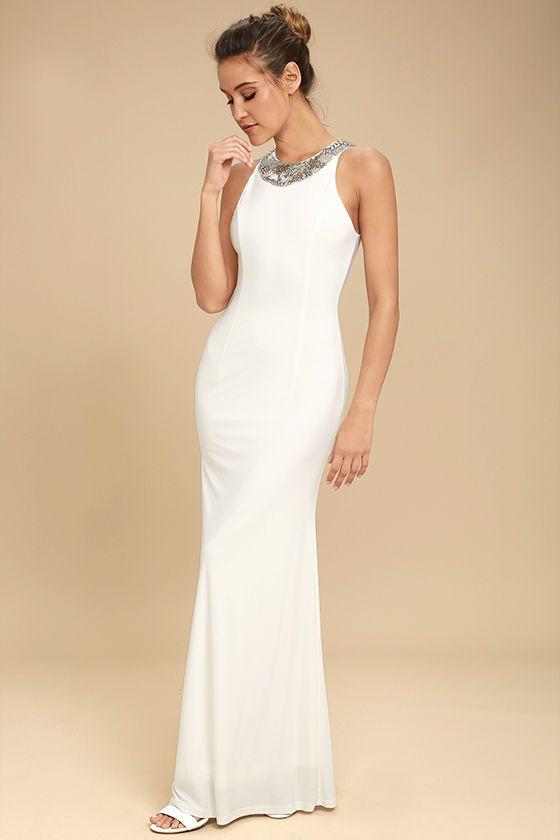 Wedding - Pledging My Love White Beaded Maxi Dress