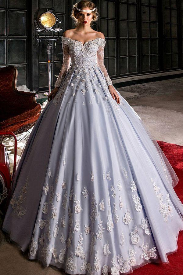 Wedding - Marvelous Tulle Off-the-shoulder Neckline A-line Wedding Dress With Lace Appliques & Beadings & Handmade Flowers