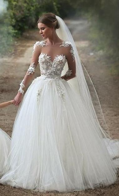 Mariage - Fashion Lace/Tulle Wedding Dress Ball Gown ,Bridal Dresses Ball Gown Wedding Dress With Long Sleeves BDS0392