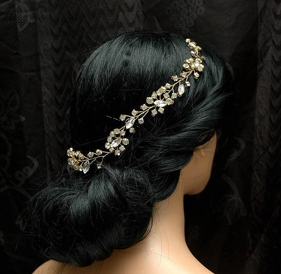 Mariage - Crystal Hair Vine, Gold Wedding Hair Vine, Bridal Headpiece, Wedding Hair Piece, Wedding Hair Accessory, Gold Bridal Headpiece, Hair Pins - $40.00 USD